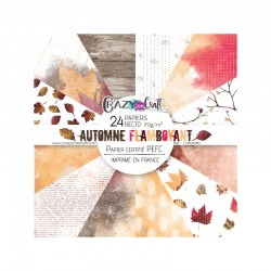 "Collection ""Automne flamboyant"" - papiers scrapbooking, format  15 x 15 - Crazy Little Craft"
