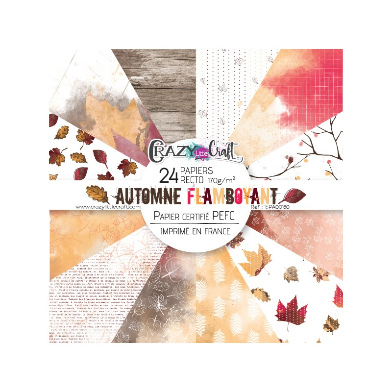 "Collection ""Automne flamboyant"" - papiers scrapbooking, format  15 x 15 - Crazy Little Craft"
