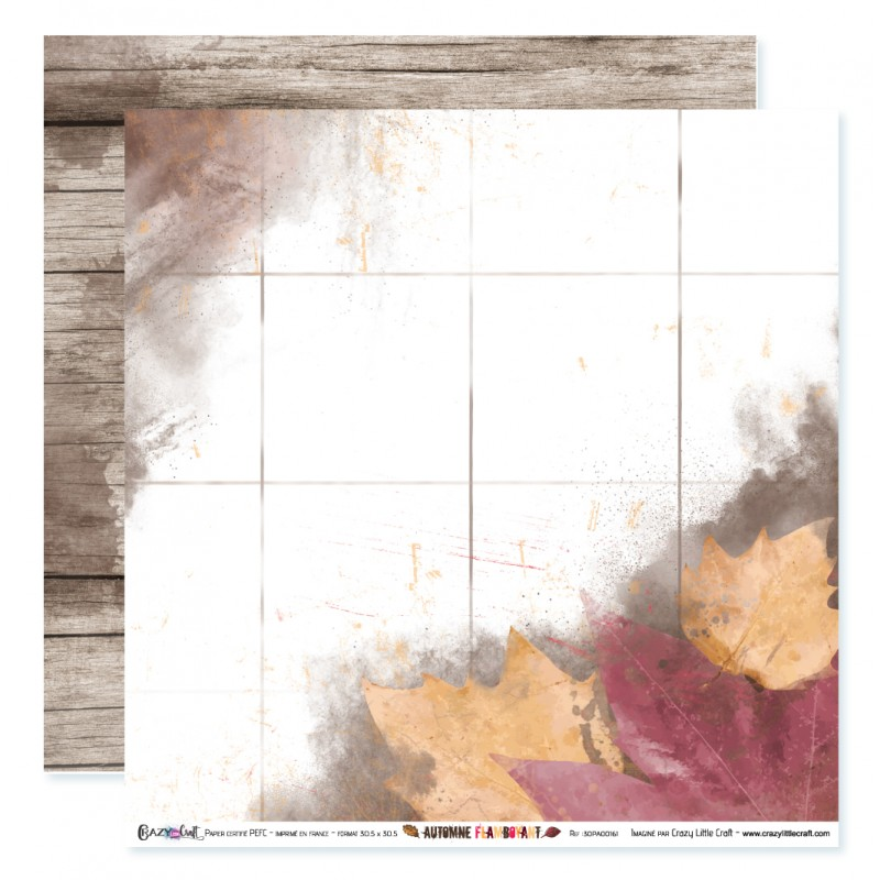 "Papier n°1 de la collection ""Automne flamboyant"" - papier scrapbooking, format  30 x 30 - Crazy Little Craft"