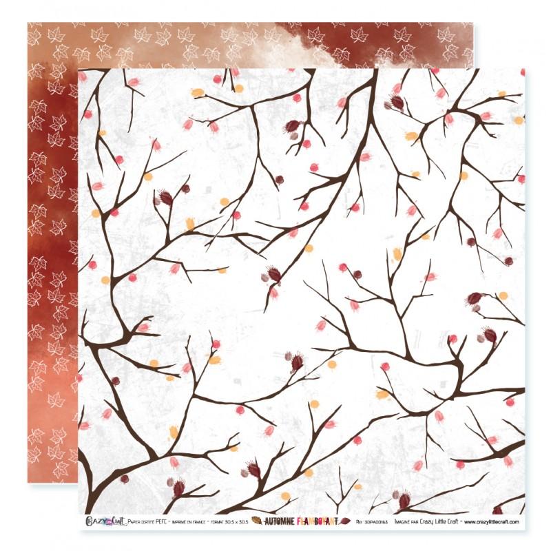 """Papier n°3 de la collection """"Automne flamboyant"""" - papier scrapbooking, format  30 x 30 - Crazy Little Craft"""