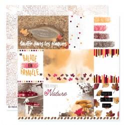 """Papier n°6 de la collection """"Automne flamboyant"""" - papier scrapbooking, format  30 x 30 - Crazy Little Craft"""