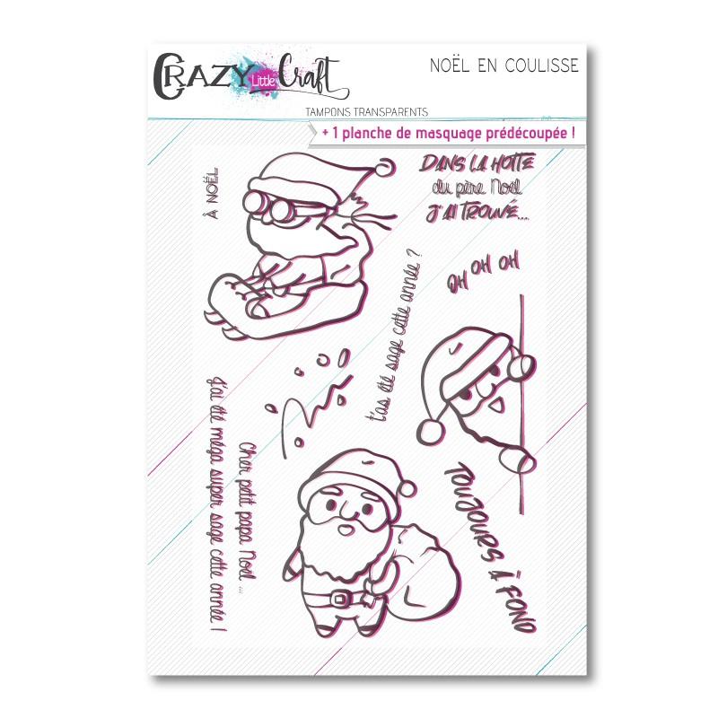 Noël en coulisse - Planche de tampons transparents photopolymère pour scrapbooking - Crazy Little Craft