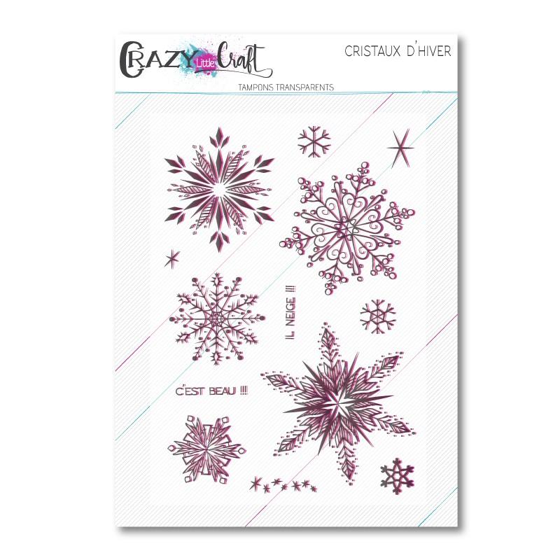Cristaux d'hiver - Planche de tampons transparents photopolymère pour scrapbooking - Crazy Little Craft