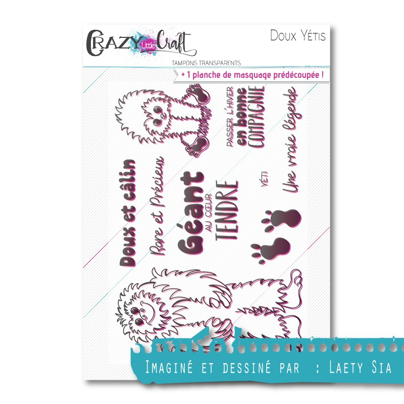 Doux Yétis - Tampon transparent photopolymère pour scrapbooking - Crazy Little Craft