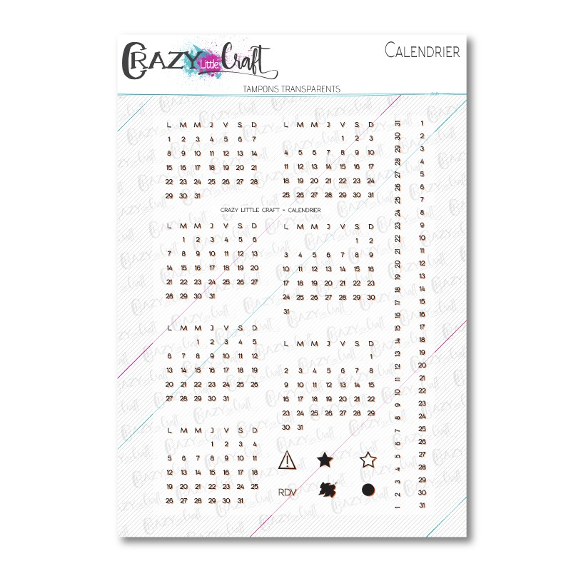 Calendrier - Tampons transparents photopolymère pour scrapbooking - Crazy Little Craft