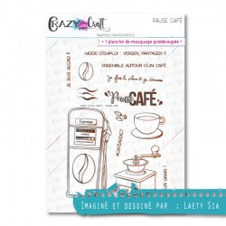 Pause café - Tampons transparents photopolymère pour scrapbooking - Crazy Little Craft