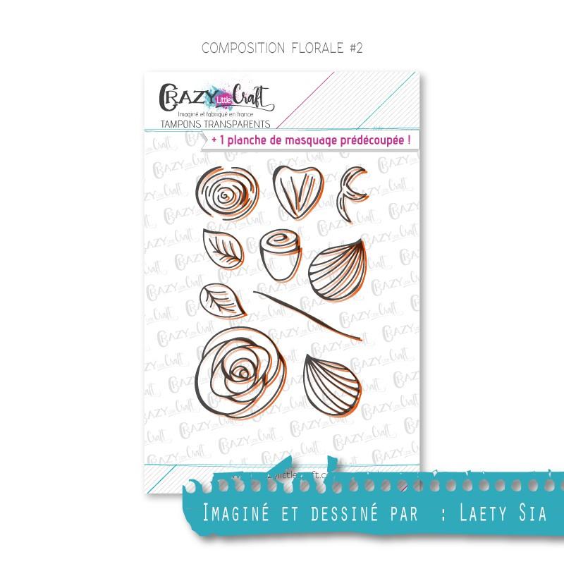 Composition florale 2 - Tampons transparents photopolymère pour scrapbooking - Crazy Little Craft