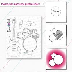 """Motifs de masquage correspondant à la planche de tampons """"Vive la musique"""""""