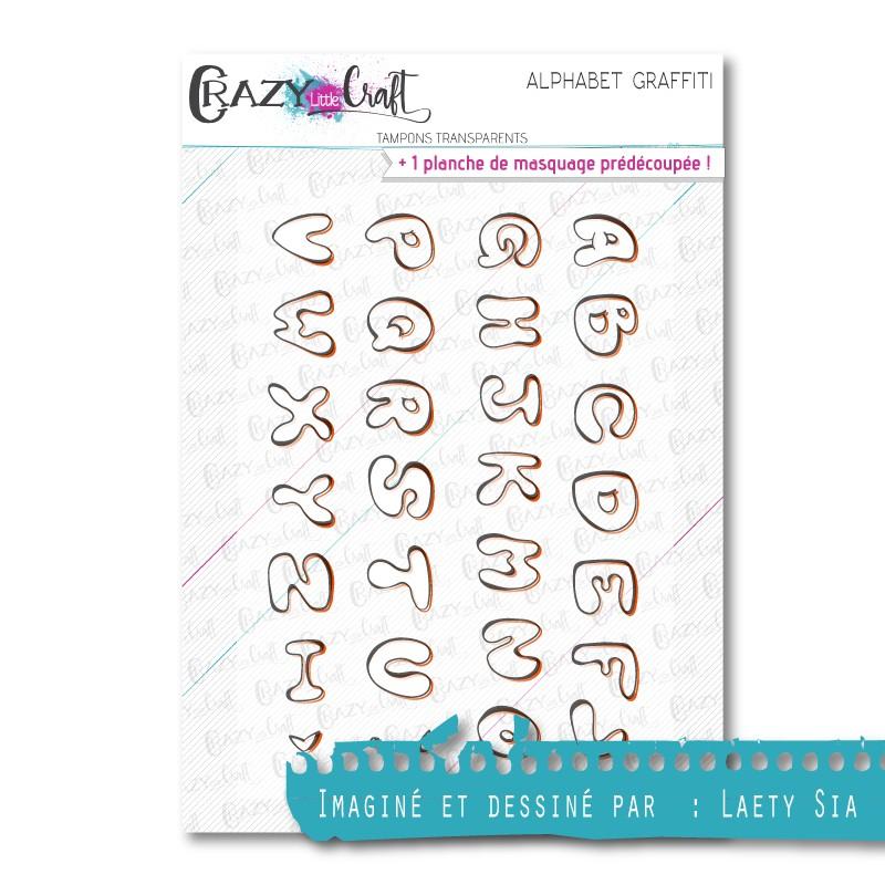 Alphabet graffiti - Tampons transparents photopolymère pour scrapbooking - Crazy Little Craft