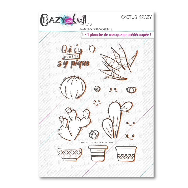 Cactus Crazy - Tampons transparents photopolymère pour scrapbooking - Crazy Little Craft