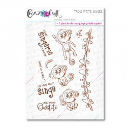 Trois p'tits singes - Tampons transparents photopolymère pour scrapbooking - Crazy Little Craft