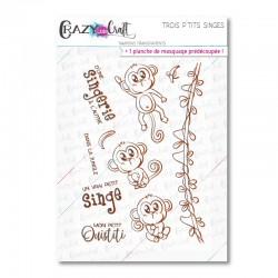 Trois p'tits singes - Tampons transparents photopolymère pour scrapbooking - Crazy Little Craft