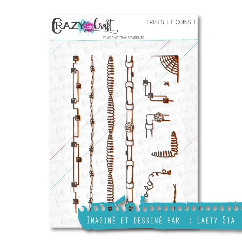 Frises et coins 1 - Tampons transparents photopolymère pour scrapbooking - Crazy Little Craft