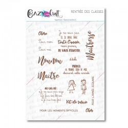 Rentrée des classes - Tampons transparents photopolymère pour scrapbooking - Crazy Little Craft
