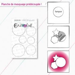 """Masque(s) en papier prédécoupé(s), correspondant à la planche de tampons """"Crazybouilles""""."""