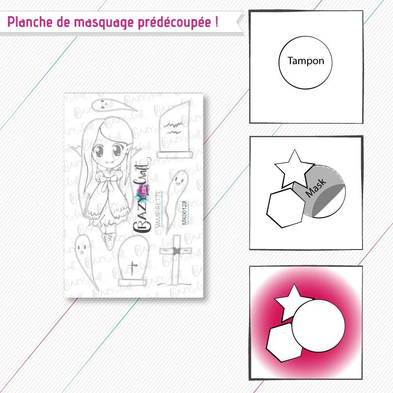 """Masque(s) en papier prédécoupé(s), correspondant à la planche de tampons """"Vampirette""""."""