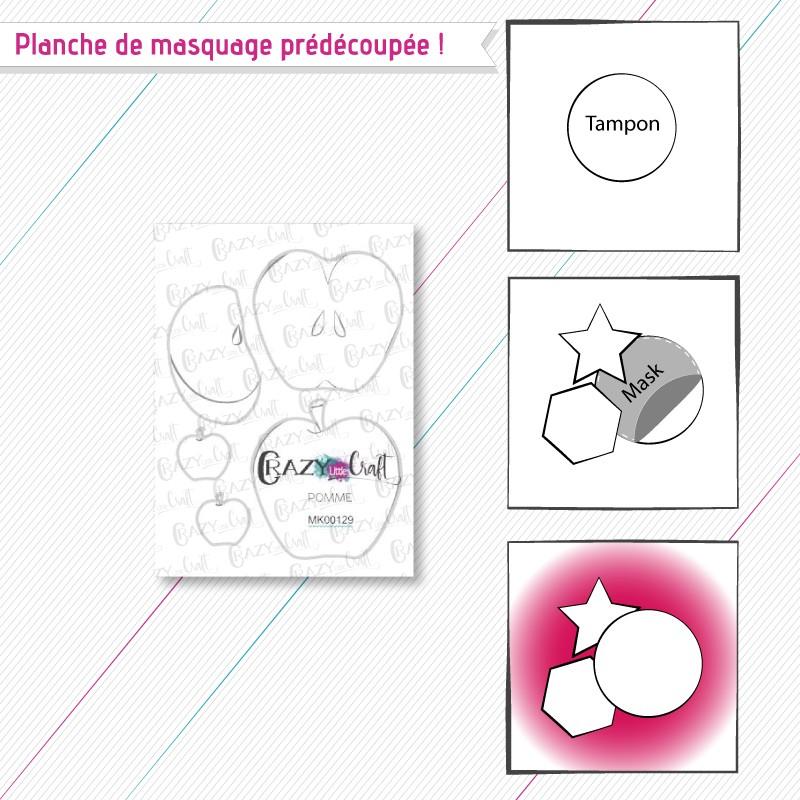 """Masque(s) en papier prédécoupé(s), correspondant à la planche de tampons """"Pomme""""."""