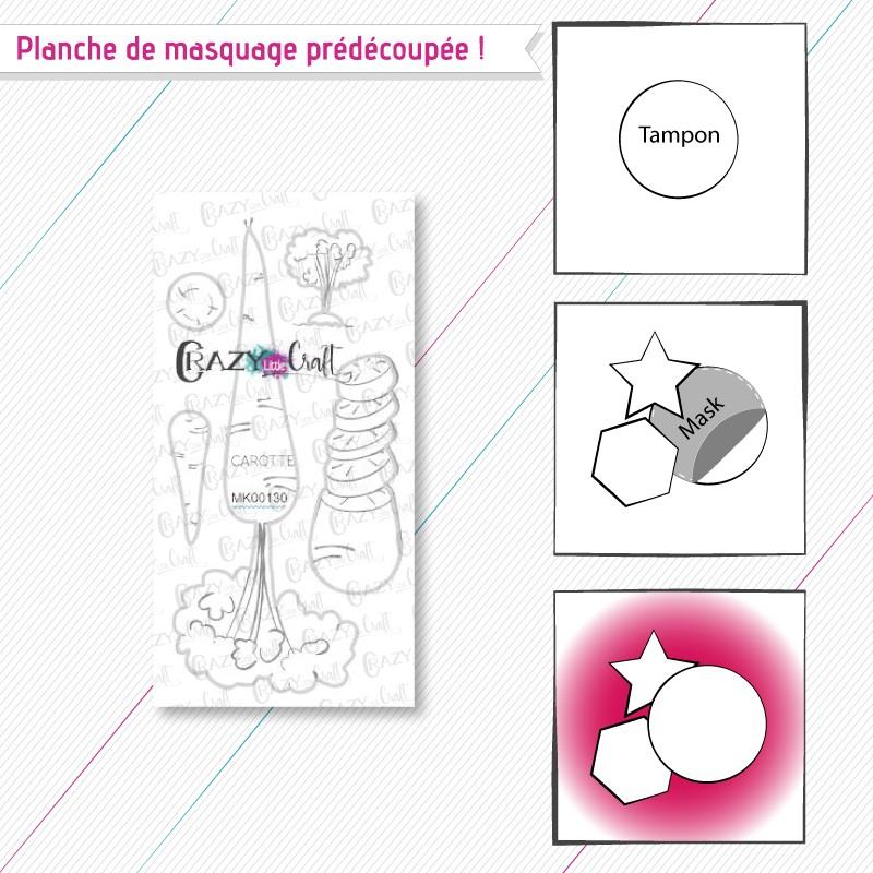 """Masque(s) en papier prédécoupé(s), correspondant à la planche de tampons """"Carotte""""."""