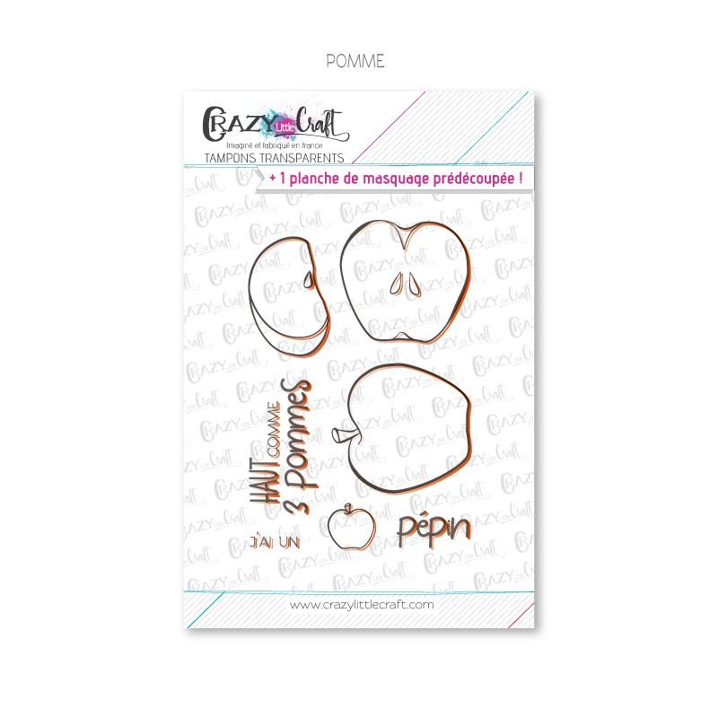 Pomme - Tampons transparents photopolymère pour scrapbooking - Crazy Little Craft