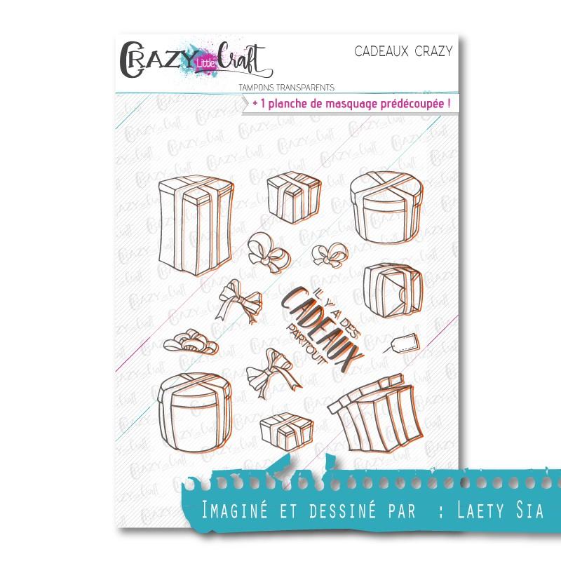 Cadeaux Crazy - Tampons transparents photopolymère pour scrapbooking - Crazy Little Craft