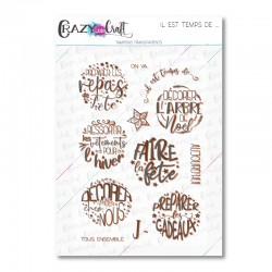 Il est temps de ... - Tampons transparents photopolymère pour scrapbooking - Crazy Little Craft
