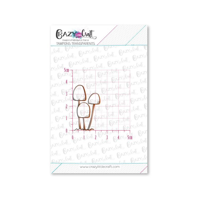 Trio de champignons - Tampons transparents photopolymère pour scrapbooking - Crazy Little Craft