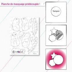 """Masque(s) en papier prédécoupé(s), correspondant à la planche de tampons """"Marmottes""""."""