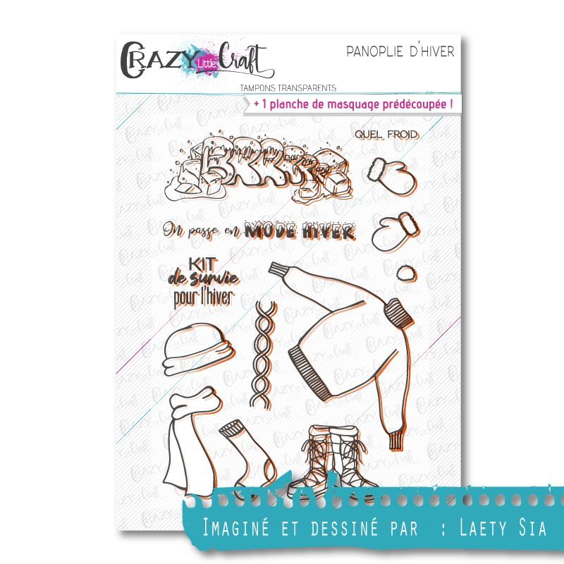 Panoplie d'hiver - Tampons transparents photopolymère pour scrapbooking - Crazy Little Craft