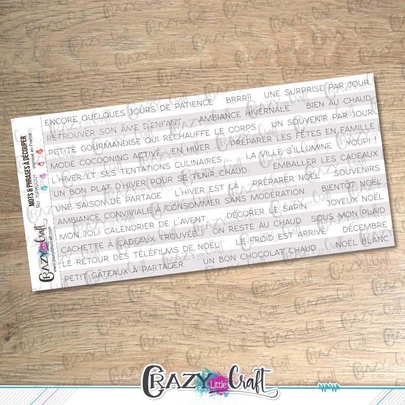 Mots et phrases d'hiver - Blanc & Gris- Textes à découper - Crazy Little Craft