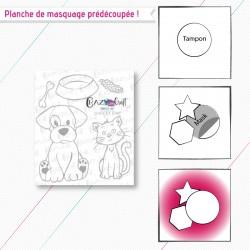 """Masques en papier prédécoupés, correspondant à la planche de tampons """"Chien et chat""""."""