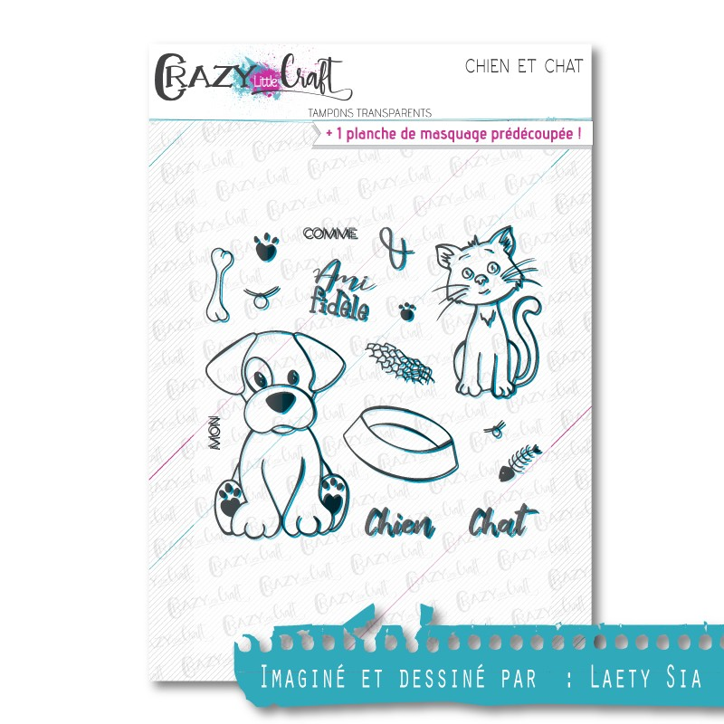 Chien et chat - Tampons transparents photopolymère pour scrapbooking - Crazy Little Craft