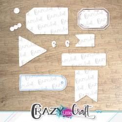 """Formes à découper pour machine numérique correspondant à la planche de tampons """"Étiquettes Crazy"""""""