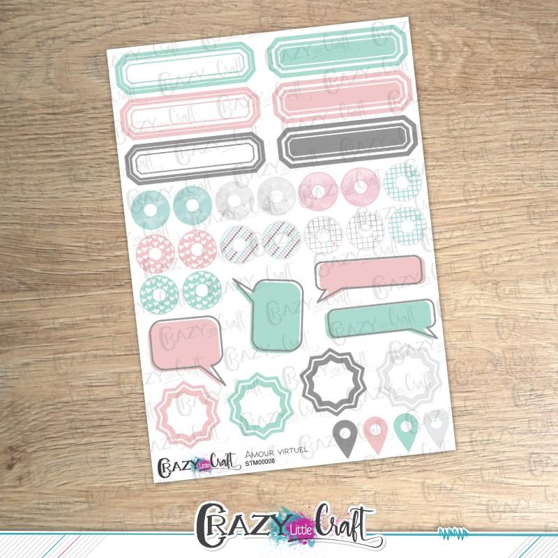 Amour virtuel - Planche de stickers en papier - Crazy Little Craft