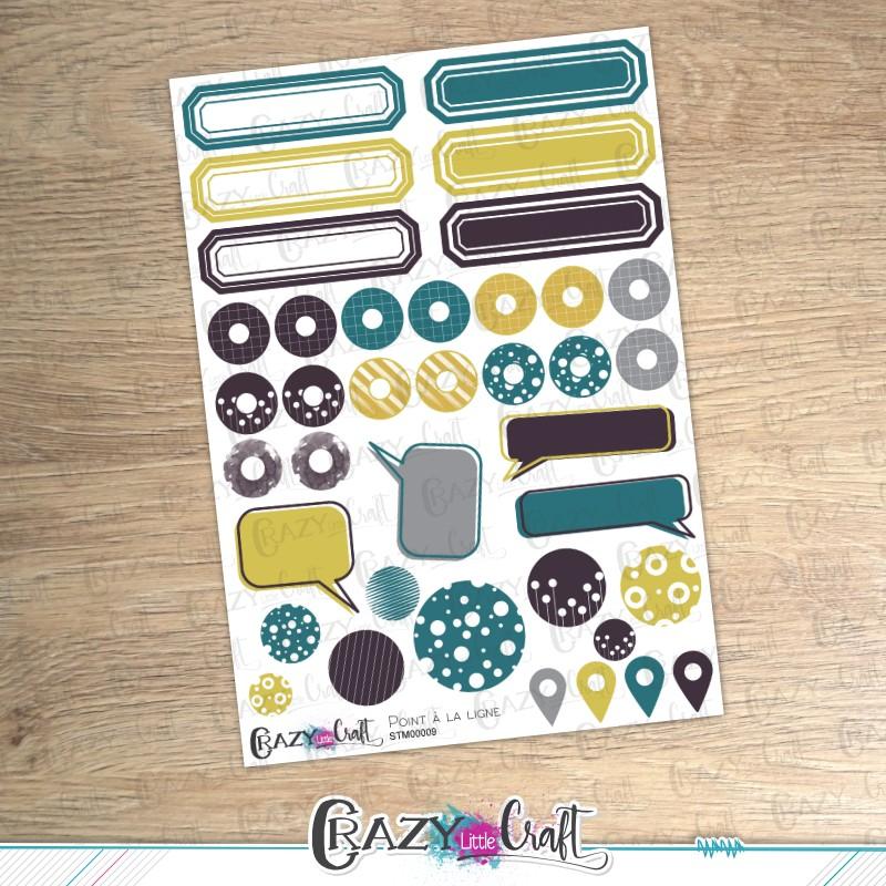 Point à la ligne - Planche de stickers en papier - Crazy Little Craft