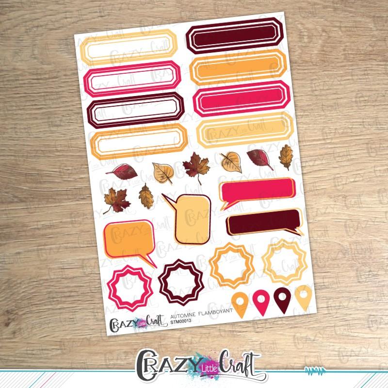Automne flamboyant  - Planche de stickers en papier - Crazy Little Craft