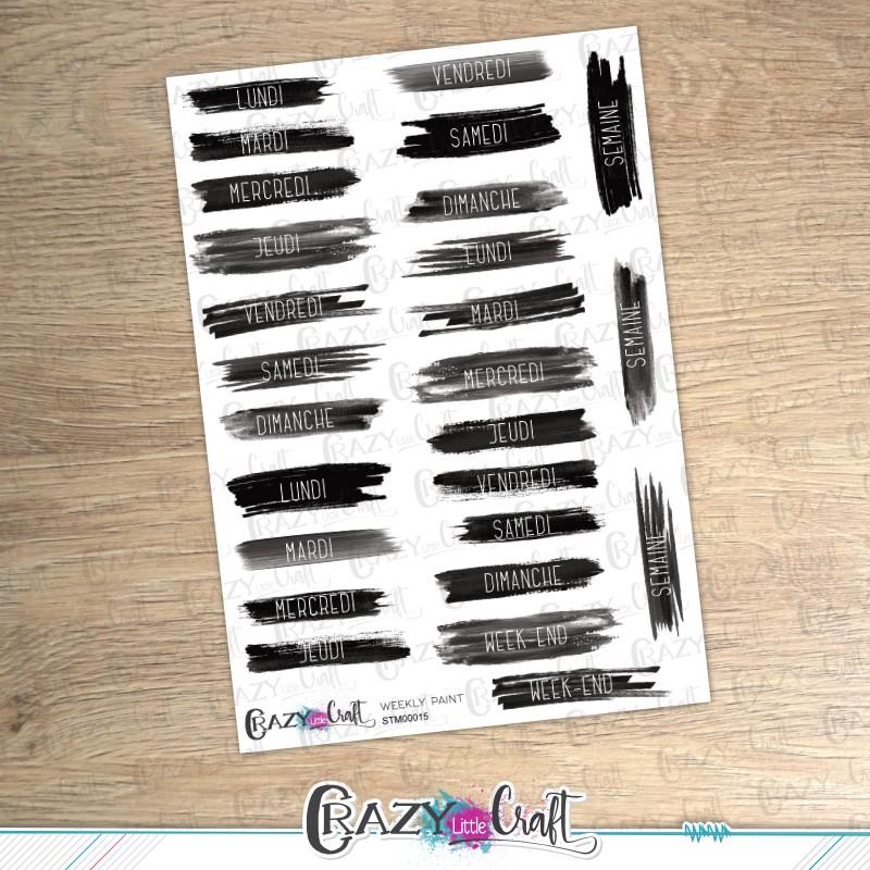 Weekly paint - Planche de stickers en papier - Crazy Little Craft