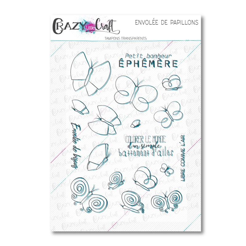 Envolée de papillons - Tampons transparents photopolymère pour scrapbooking - Crazy Little Craft