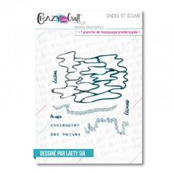 Ondes et écume - Tampons transparents photopolymère pour scrapbooking - Crazy Little Craft