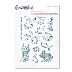 Poissons Crazy - Tampons transparents photopolymère pour scrapbooking - Crazy Little Craft