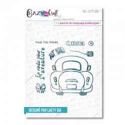 En voiture - Tampons transparents photopolymère pour scrapbooking - Crazy Little Craft
