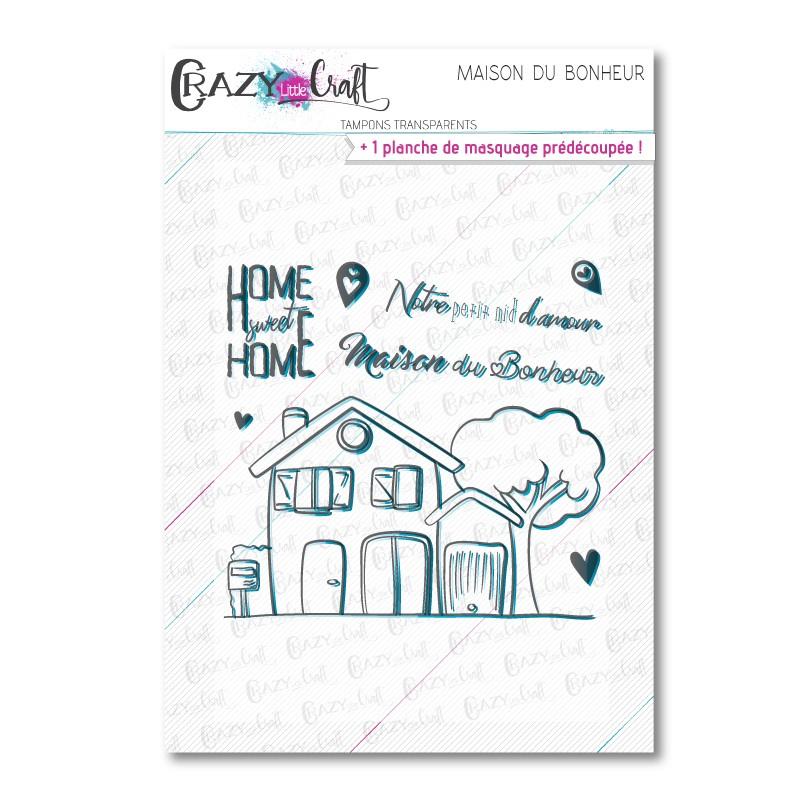 Maison du bonheur - Tampons transparents photopolymère pour scrapbooking - Crazy Little Craft