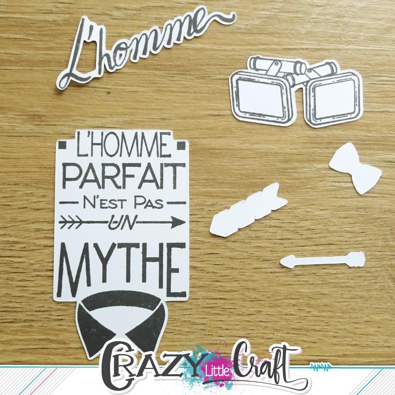 Exemple de tamponnages sur découpes Crazy Little Craft
