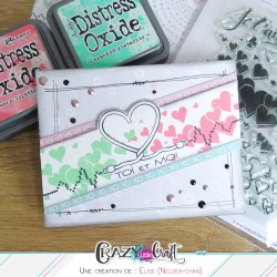 Création scrapbooking de carte pour la St Valentin. Avec les produits Crazy Little Craft !