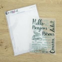 Mots et phrases de salutations - planche de tampons scrapbooking et sa pochette de rangement