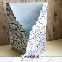 Avalanche d'enveloppes, carte en 3 parties, découpée grâce au fichier de découpes