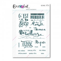 C'est ta fête - Planche de tampons transparents photopolymère pour scrapbooking - Crazy Little Craft