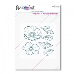 Anémone - Planche de tampons transparents photopolymère pour scrapbooking - Crazy Little Craft