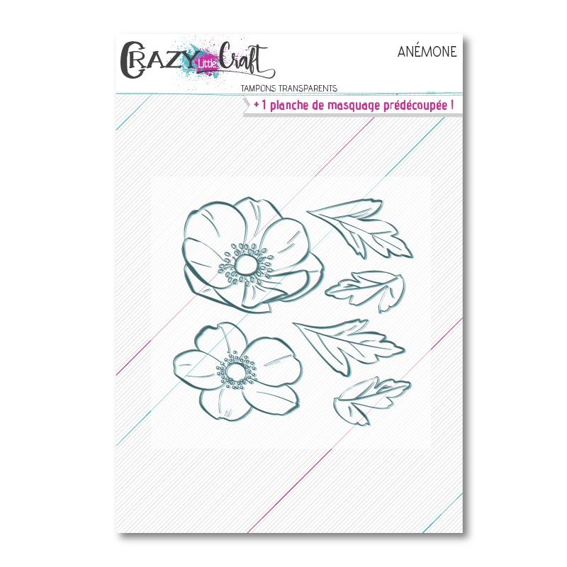 Anémone - Planche de tampons transparents photopolymère pour scrapbooking - Crazy Little Craft