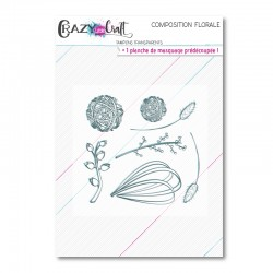 Composition florale - Planche de tampons transparents photopolymère pour scrapbooking - Crazy Little Craft