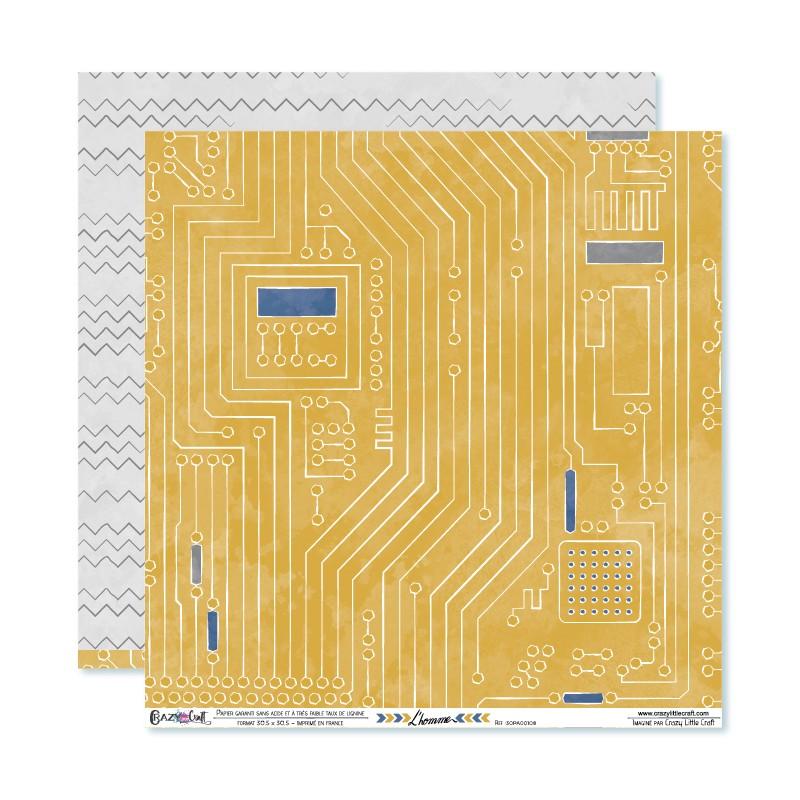 """Papier circuits imprimé et chevrons déstructuré, collection """"L'homme"""" Crazy Little Craft"""
